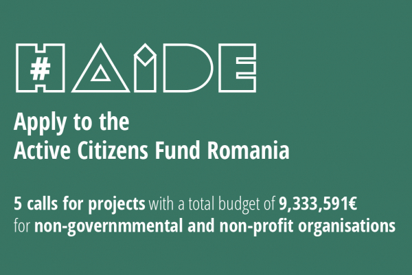 The second round of calls within the Active Citizens Fund - Romania is open starting today, until 20.04.2021